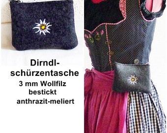 wool felt - Dirndl apron anthracite embroidered