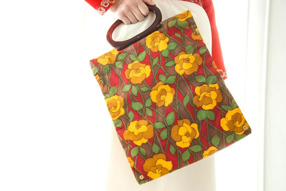 Vintage maroon gold floral market bag purse, foldable vinyl handbag, yellow rose, expandable tote, Lucite handle, gift for her