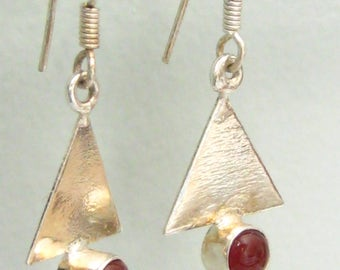 """Modernist Geometric Style Silver Drop Earrings with 1/4"""" Red Cabochons in Deep Bezel at Base of Triangle Drop. 1.5"""" L x 5/8"""" W."""