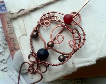 Elegant Shawl Pin / Rustic Copper Brooch / Fibula Pin / Sweater Pin / Scarf Pin / Stone brooch/ Hair slide / hair clip / barrette