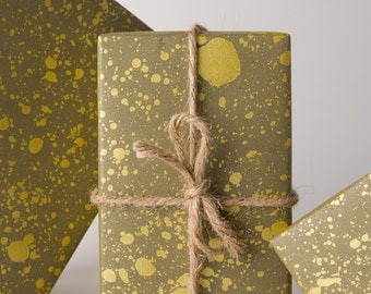Gold Drops Gift Wrap | Olive/Gold | 3 Sheets