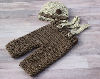 Newborn Baby Boy Overall Suspender Set, Outfit, Knitted / Crochet, Brown / Tan Tweed, Photo Prop