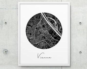 Vienna City Street Map Print. Vienna Urban Map Poster. Black & White Vienna Austria Poster. Modern Wall Art Home Office Decor. Printable Art