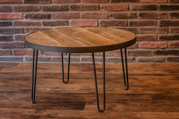 Round Table 36 Inch Reclaimed Wood Top With Metal Band