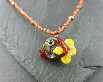 Little fishy handmade lampwork glass necklace