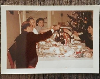 Original Vintage Color Photograph Toasting the Season