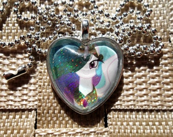 My Little Pony -  Celestia - Glass Heart Pendant Charm made from Holofoil Rare Trading Cards
