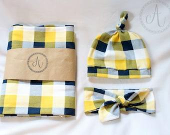 Navy and Yellow Swaddle Headband/Hat Set