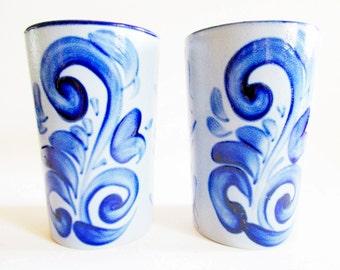 Pair German Vintage Salt Glazed Pottery Tumblers, Handpainted Rustic Folk Art Vintage Stein