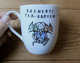 Hand painted Daenerys Tea-garyen Mug - Game of Thrones - Targaryen