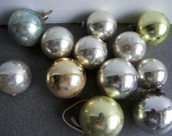 Vintage Mercury Glass Christmas Ornaments Silver,Gold and Green Set of 13