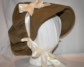 Austentation Jane Austen Regency 1812 Cottage Bonnet Brown Velvet