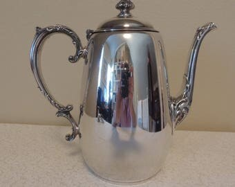 Vintage Silverplate Coffee Pot Wm Rogers Spring Flower Pattern Decorative Handle & Spout Hinged Lid Teapot Shabby Chic Cottage Chic Romantic