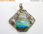 30% OFF Peruvian picture opal Designer pendant with 14k gold and reticulated sterling silver and a beautiful precious Australian Opal