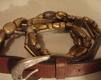 Vintage 1970s Boho Dark Brown Leather Belt and Beaded Details