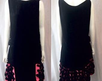 robe en velours des années 1920 la panne noir et rose