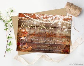 Rustic Fall Bridal Shower Invitation Rustic Wedding Shower Autumn Wedding Bridal Invite DIY Mason Jar Invite Digital Printable Fall Leaves