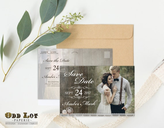 Rustic Save the Date Postcards, Printable Save-the-Date Postcards, Rustic Wedding, Printable Invitations, Engagement Photo ~Wood Lace