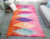 Vintage Moroccan Kilim Pink and Orange Diamond Flatweave Boucherouite Flat Woven Rug - FREE DOMESTIC SHIPPING