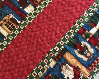 Christmas Table Runner Quilt, Santa Claus, Snowman, Angels, Red, Green, Handmade
