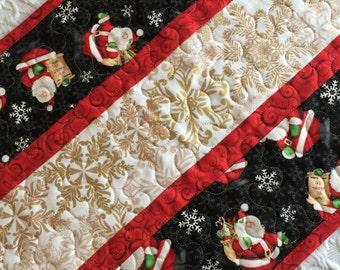 Christmas Table Runner Quilt, Santa Claus, Snowflakes, Red, White, Black, Handmade