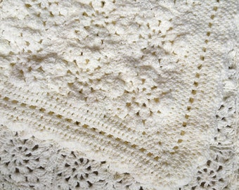 Crochet Baby Blanket- Antique White- Granny Square Crochet- Ready To Ship- 33x36- 56 Granny Squares