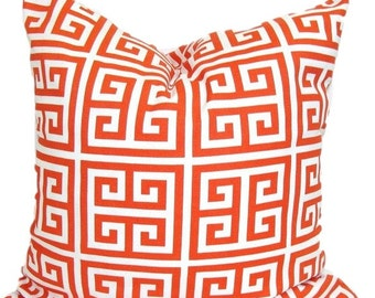 Orange Pillow, Orange Pillow Cover, Decorative Pillow, OUTDOOR Pillow, Pillow,Greek Key Pillow,18x18, 16x16, 22x22, 26x26 and more-ALL SIZES