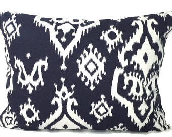 BLUE Pillow Sale.12x16  inch Decorative Lumbar Pillow Cover.Navy Blue Pillow Cover.Blue Pillow.Blue Cushion Cover.cm.Blue Ikat Pillow