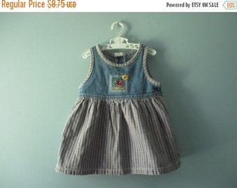 ON SALE Vintage OshKosh jumper / plaid and denim jumper dress / baby girl 12 to 18 months