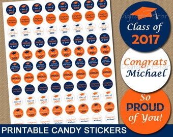 Personalized Graduation Party Favors - High School Graduation Candy Stickers - PRINTABLE Candy Labels for 2017 Graduation Candy Buffet G6