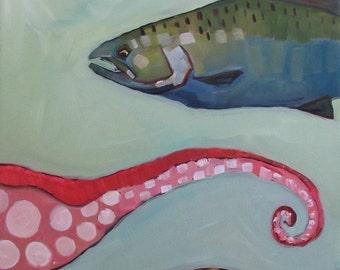 Pacific Ocean Creatures Original Oil Painting