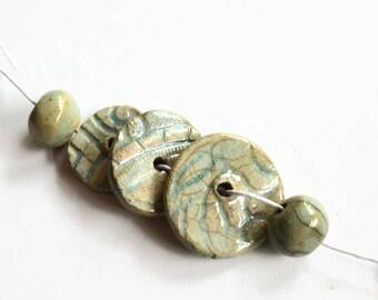 Raku beads, Textured Aqua-green discs, African Beads, handmade beads, clay beads, raku beads, boho beads, crackle beads, earth butter