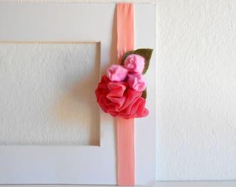 Tulip elastic headband Floral design Fabric flowers