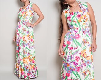 1970s// Concept 70s by SWIRL// Ruffled Spring Floral Maxi Dress// S