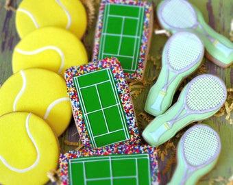 Tennis Shortbread Cookie Favors, Tennis Racquet, Tennis Balls, Tennis Court with Croud