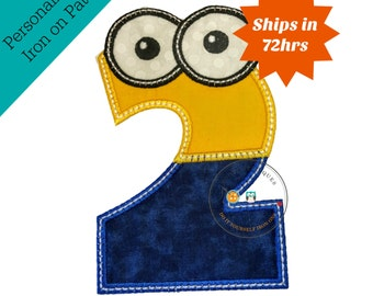 Boy little helper birthday number 2 - iron embroidered fabric applique patch embellishment- ready to ship