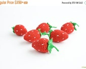 BLACK FRIDAY SALE Crochet Strawberry (1 pc) - baby rattle, play food, pretend play, kitchen decoration, eco-friendly - FrejaToys