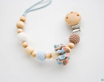 Wooden Pacifier Clip with Cotton Flower, Soother Holder, Baby Boy Gift - FrejaToys