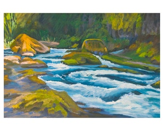 Oregon Landscape Print Hard Rock Rhythm and Blues Salmon Creek Oakridge 8x12 inches matted to 12x16 inches