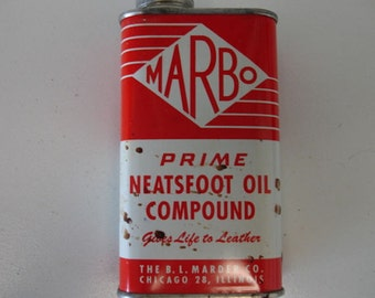 "Vintage Tin "" Marbo Neat Foot Oil Compound "" Full 1950s 1960s Collector Tins"