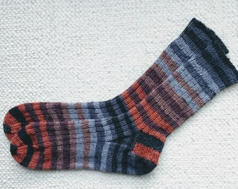 Hand knitted woman, man  socks, UK 8-10 US 9-11