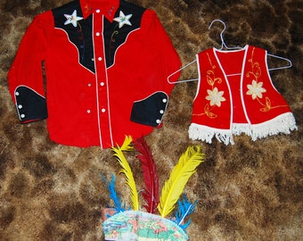 Vintage Cowboys and Indians childs clothes with headdress