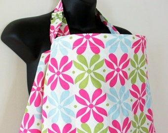 Clearance Nursing Cover Up - Pink Green Blue Flower - Perfect for the Modest Nursing Mom