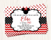 Custom Minnie Mouse - First 1st Red and Black Polka Dot Birthday Party Invitation   - Any Color
