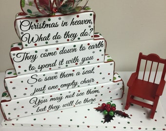 Christmas in heaven stacked blocks
