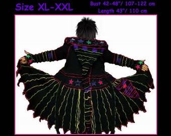 eLf cOAT, sweater coat, size XL, size XXL, elf sweater, hoodie, pixie, fairy, costume, gypsy, patchwork coat