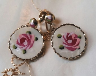 Antique Gold Earrings Roses on Mother of Pearl Screw Back Hand Painted Victorian Edwardian Vtg Jewelry Vintage Estate circa 1910