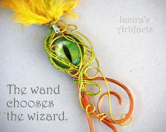 Witches wand Cosplay Wizard Magic Fairy Wire wrapped scepter sceptre Green Dragon Eye gift for girls/daughter Costume party accessories