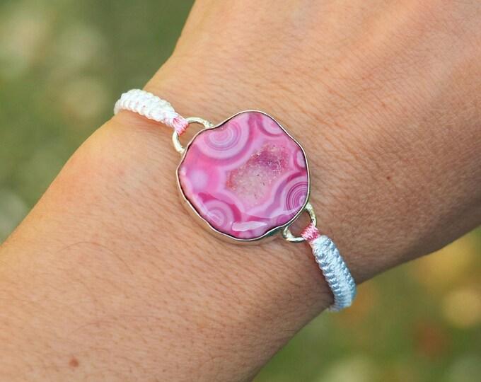 Pink Agate macrame bracelet ~ Silver bezel ~ Friendship bracelets