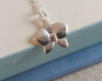 Silver Flower Necklace. Sterling Silver Orchid Pendant. Floral Necklace. Sterling Silver Necklace. Simple Dainty Everyday, Christmas Gift